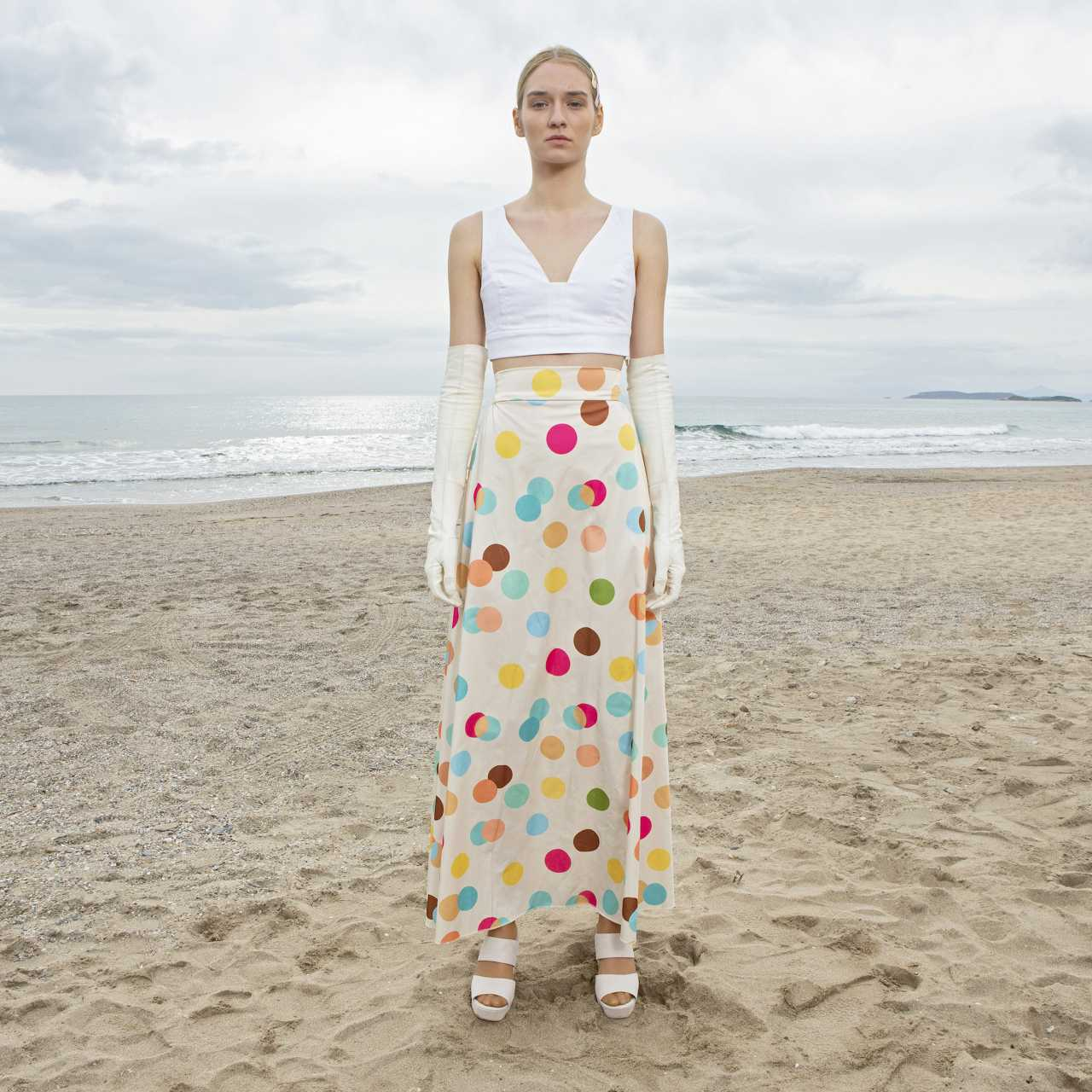 Product preview: Tulle Tutu Skirt Midi Ivory Multicolor Dotted Skirt